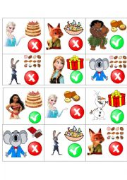 English Worksheet: Likes and dislikes game (describing what the characters of different cartoons like and don�t like)