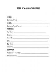 English Worksheet: Form Filling