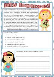 English worksheet: My house!