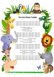 English Worksheet: The lion sleeps tonight missing words