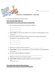 English Worksheet: Video Games Listening Comprehension