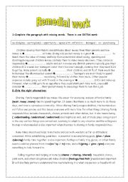 English Worksheet: Remedial work 9th grade