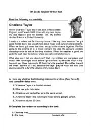 English Worksheet: 7th Grade- Written Test