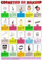English Worksheet: Cosmetics or Makeup Pictionary and definitions + KEY