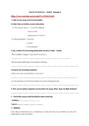 English Worksheet: 8th form module 2 group session Back to school song by Grease 2 (part 2)