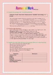 English Worksheet: Remedial Work 8th forms