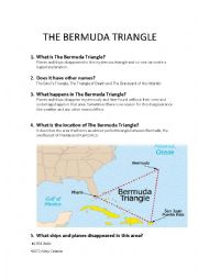 English Worksheet: The Bermuda Triangle - Great Mysteries of our World
