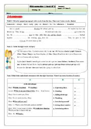 English Worksheet: mid-semester 1 test N 2 7th form tunisian pupils
