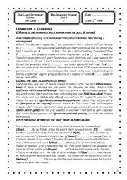 English Worksheet: Mid-Semester test12nd form