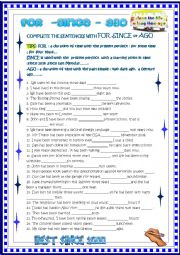 English Worksheet: For since ago with KEY