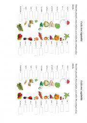 English Worksheet: Fruits and vegetables - Phonetic transcription