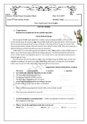 English Worksheet: Life in Medieval Europe