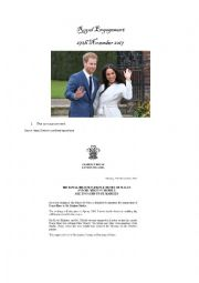 English Worksheet: Royal Engagement (Prince Harry and Meghan Markle)