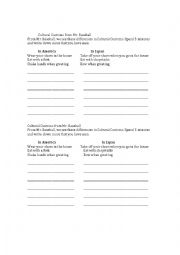 English Worksheet: Mr. Baseball movie- Cultural Differences