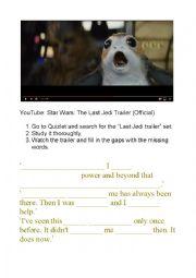English Worksheet: Star Wars Last Jedi trailer listening