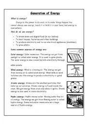 English Worksheet: Generation of Energy