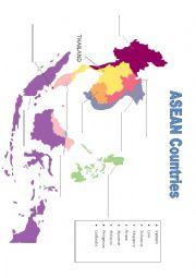 English Worksheet: ASEAN Countries map filling