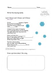 English Worksheet: Song: let it snow