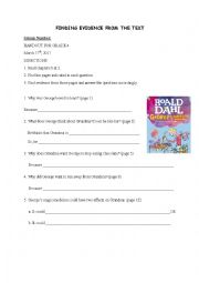 English worksheet: George´s Marvellous Medicine Finding Evidence  Handout
