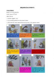 English worksheet: George´s Marvellous Medicine Ordering Events Handout