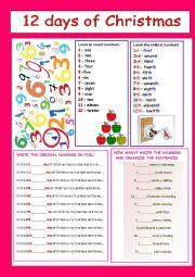 English Worksheet: 12 DAYS OF CHROSTMAS