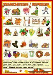 English Worksheet: Thanksgiving : matching with key