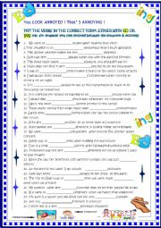English Worksheet: You look annoyed , that�s annoying. ed/ ing  with key