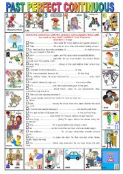 English Worksheet: PAST PERFECT CONTINUOUS -  Pictionary + Exercises + KEY+ teacher�s extras