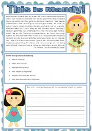 English worksheet: This is Mandy