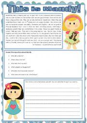 English worksheet: This is Mandy