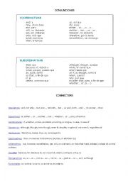English Worksheet: List of Conjunctions and Connectors