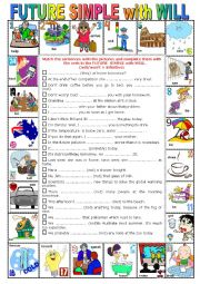 English Worksheet: FUTURE SIMPLE with WILL  -  Pictionary + Exercises + KEY  + teacher�s extras.