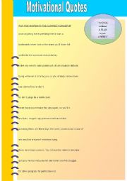 English Worksheet: Motivational Quotes with two exercises