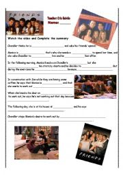 English Worksheet: Friends - Chandler works out - video on youtube - link and explanation included