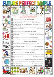 FUTURE PERFECT SIMPLE -  Pictionary + Exercises + KEY + teacher´s extras
