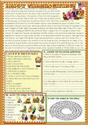 English Worksheet: Happy Thanksgiving; reading