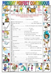 English Worksheet: PRESENT PERFECT CONTINUOUS -  Pictionary + Exercises + KEY + teacher�s extras