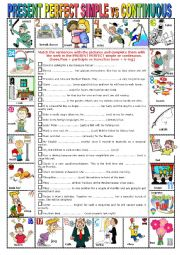 English Worksheet: PRESENT PERFECT SIMPLE VS CONTINUOUS -  Pictionary + Exercises + KEY + teacher�s extras