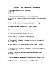 English Worksheet: Prehistory Quiz