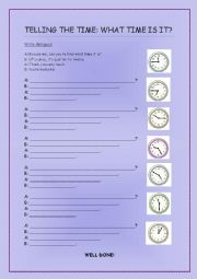 English worksheet: What time is it