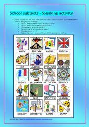 English worksheet: School subjects - speaking activity