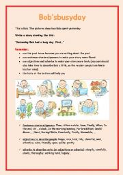 English worksheet: Bob´s busy day