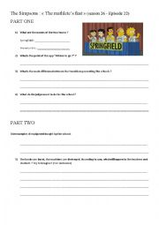 English Worksheet: Oral comprehension - The Simpson (New technologies at school)