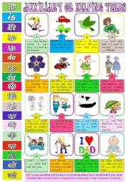 English Worksheet: Auxiliary or helping verbs + key