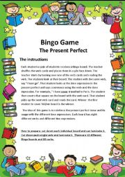 English worksheet: Bingo game