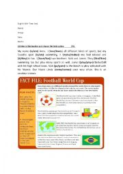 English worksheet: Sports TEST