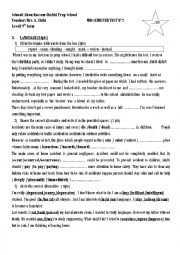 English worksheet: Mid of semester test n2