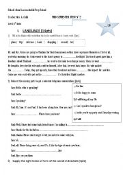 English worksheet: Mid of semester test n2