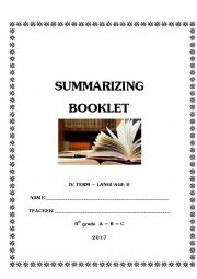 English Worksheet: Summarizing Booklet