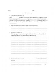 English Worksheet: The Middle Ages